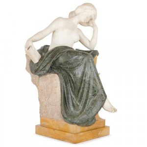 Italian white, Siena and Verde Antico marble figure by Pittaluga