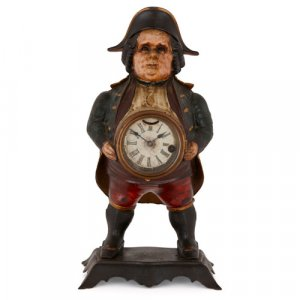 Continental 'blinking eye' soldier clock by Bradley & Hubbard