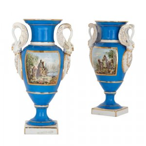 Pair of Empire style Paris porcelain vases