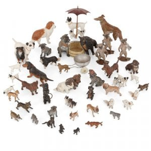 Collection of 38 Viennese cold-painted bronze dogs