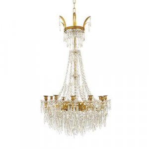 Empire style French ormolu and crystal antique chandelier