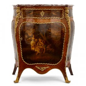 Ormolu mounted kingwood vernis Martin antique side cabinet