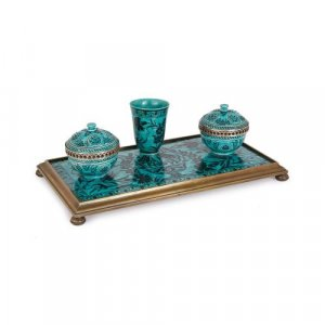 Iznik style ceramic brass mounted ink stand