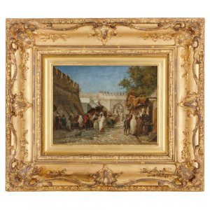 Orientalist oil on panel painting in giltwood frame by Eeckhout