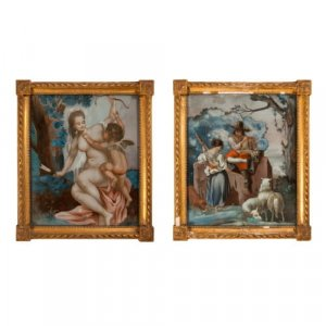 Rare pair of 18th Century reverse glass paintings