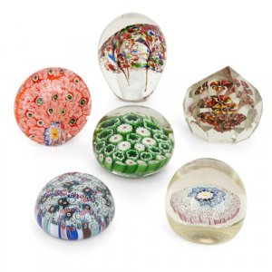 Set of six decorative glass desk paperweights