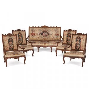 French Beauvais tapestry and carved beech wood salon suite