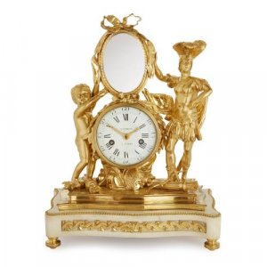 French ormolu and white marble mantel clock and mirror