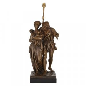 Patinated bronze figurative lamp by Dumaige