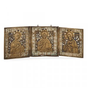 Russian bronze and enamel folding triptych