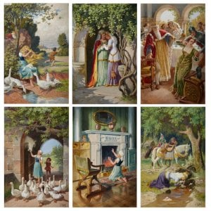 'The Goose Girl', set of six German watercolours by Otto Kubel
