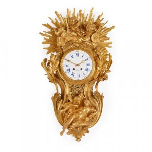 Large gilt bronze antique French cartel clock by Bertoud