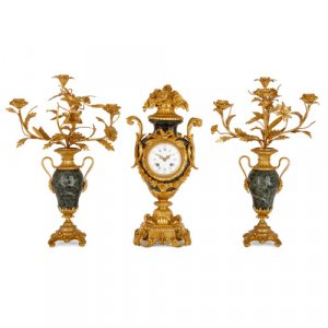 Louis XV style ormolu mounted green marble clock set