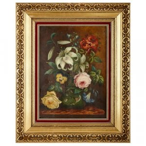 English porcelain plaque depicting a floral bouquet by Steele