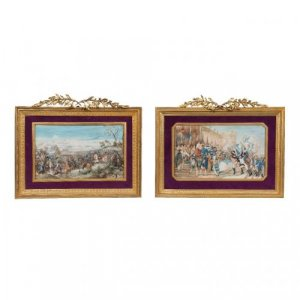 A pair of painted ivory panels depicting Napoleonic scenes