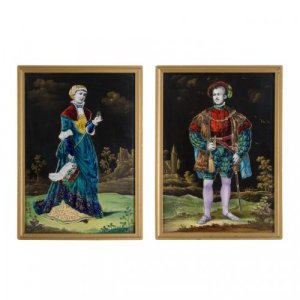 A pair of enamel on porcelain plaques by Lamy
