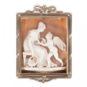 A Cameo in a parcel-gilt metal frame