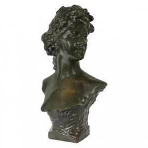 A female figural bronze bust by Jef Lambeaux