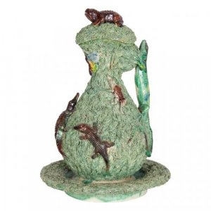 A majolica ewer with cover and stand in the Palissy style, by Manuel Mafra