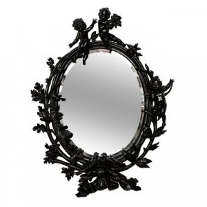 A large carved and ebonised walnut mirror