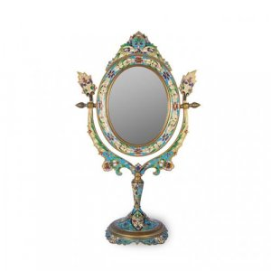 A cloisonne and gilt metal toilet mirror