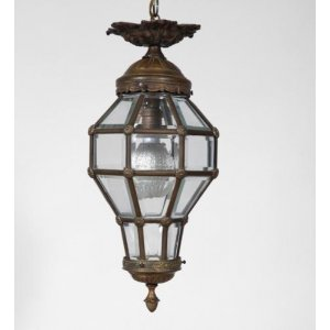 A Louis XVI style ormolu and bevelled glass beehive lantern