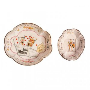 A set of two Staffordshire enamel dishes with cards