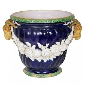 A blue celeste ground majolica jardiniere by Minton