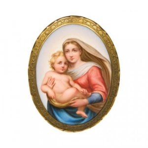 A Meissen porcelain oval plaque depicting the Madonna and Child after Raphael