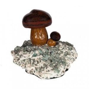Two naturalistic miniature mushrooms in jasper
