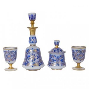 A blue flash overlay frosted opaline glass drinks set