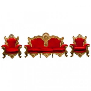 A very large Baroque style three piece giltwood salon suite
