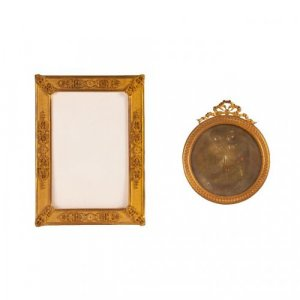 Set of two Empire gilt bronze picture frames
