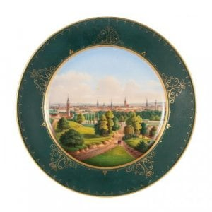 A porcelain plate painted with a view of Riga