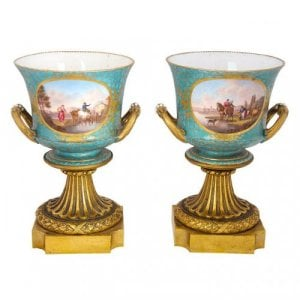 A fine pair of ormolu mounted S√ûvres style porcelain vases