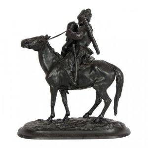 A Russian cast iron figure of a Cossack on horseback