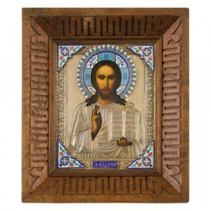 An icon of Christ Pantocrator with cloisonné enamel and silver gilt oklad