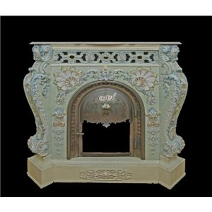 A Villeroy & Boch ceramic porcelain fireplace with a marble top