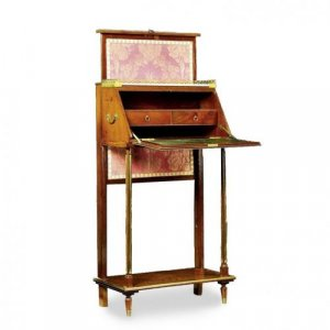 A mahogany travel writing desk on stand with screen attached