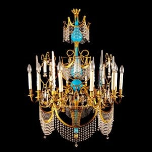 One ormolu, cut glass and blue porcelain twelve light chandelier