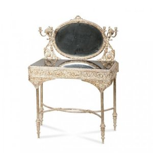 A silvered bronze mirrored dressing table