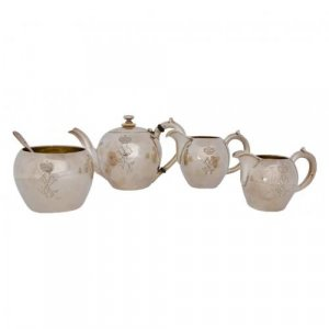 A five-piece silver tea set