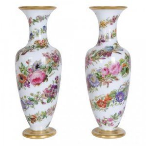 A fine pair of parcel gilt opaline glass vases by Baccarat