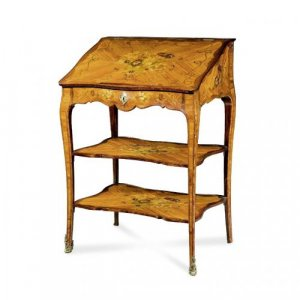 A Louis XV style ormolu mounted, marquetry and parquetry secretaire