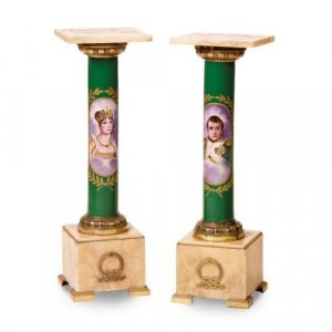 A pair of ormolu and marble mounted Sevres style porcelain pedestals
