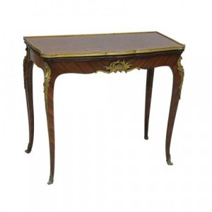 An ormolu mounted kingwood and satinwood console/card table by F. Linke