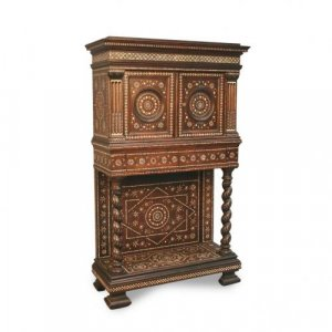 An ivory inlaid hardwood cabinet on stand