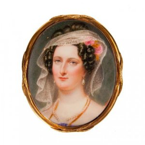 A miniature painted ivory panel of Lady Harriet Campbell