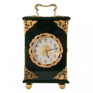 An unusual gold mounted nephrite carriage clock
