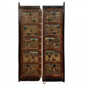 A fine and unusual double leaf Indian door